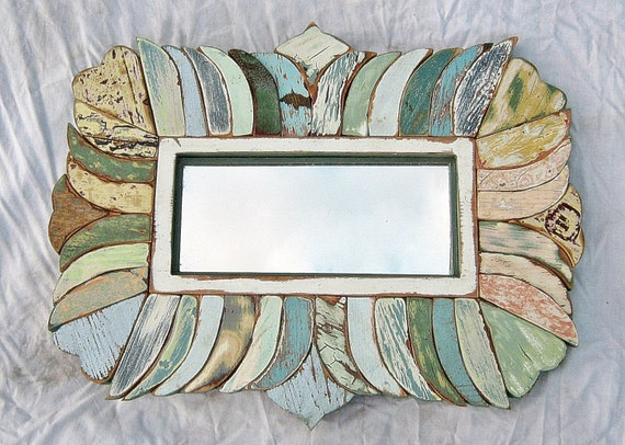 Reclaimed Wood  Framed Mirror Mosaic Art  Blue Green Yellow OOAK
