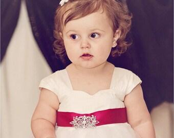 Flower girl dress, baby girl dress, silk flower girl dress, ivory tulle dress, girls dress, wedding, cap sleeve