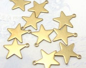 Brass Engraving Star Charms (16X) (M784)