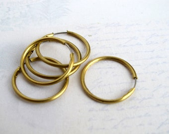 Brass Hoop Earring Findings With Stainless Steel Posts (12 Pairs) (F568)