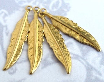 Brass Feather Charm (12X) (M768-A)