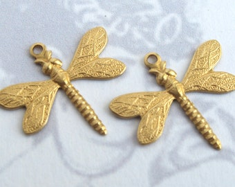Brass Dragonfly Charms (4X) (M741)