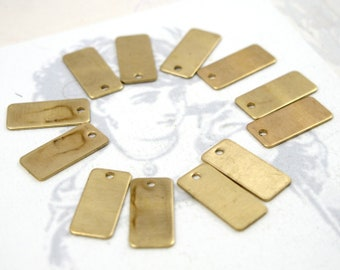 LOW Stock - Small Brass Rectangle Engraving Tag Charms (12X) (M698)