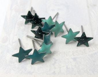 Vintage Enamel Green Turquoise and Blue Star Stud Earrings (6 Pairs) (J568)