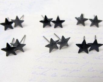 Vintage Enamel Black and Grey Star Stud Earrings (6 Pairs) (J569)