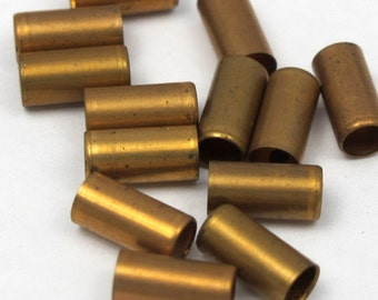 Vintage Antiqued Brass Tube Beads (40X) (B555)
