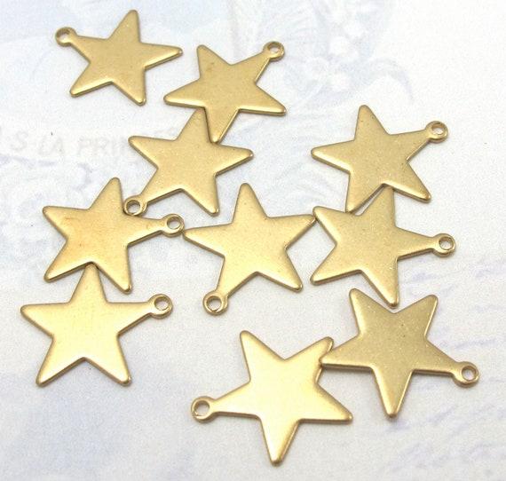 Brass Engraving Star Charms (16X) (M784)