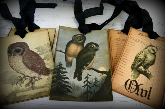 Haunted Owls Mix Set-Vintage Style Halloween Gift Tags
