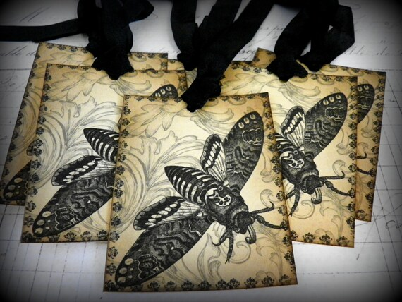 Death Moth-Vintage Style Halloween Gift Tags