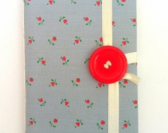 Personal journal, journal notebook, writing journal, hand bound, lined paper, fabric cover, diary, Blue Red, hearts, flowers, handmade books