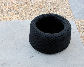 Black merino wool roving hand knit large felt large vessel