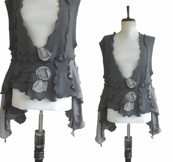 Asymmetric Floral Sweater Vest  L/XL Large Charcoal Recycled Wool Lagenlook Flower Eco Friendly Womens Clothing