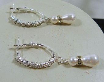 Crystal Hoops and Swarovski WhiteTeardrop Pearl Earrings