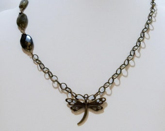 Faceted Labradorite and Bronze Dragonfly Chain Necklace