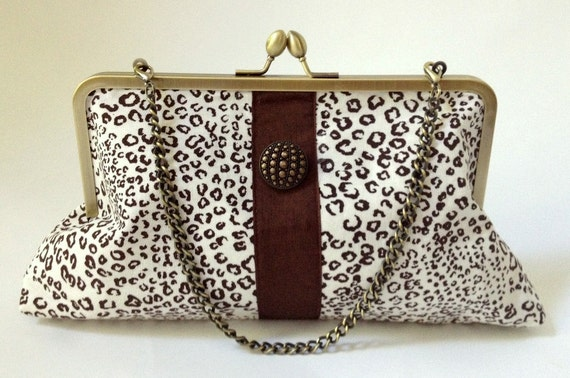 Animal Print Kiss Lock Larger Clutch with Chocolate Brown Ribbon