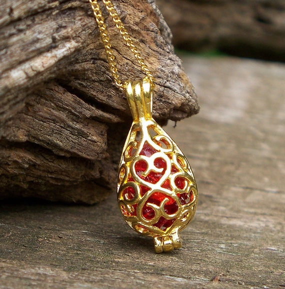 Recycled  1940's Ruby Beer Bottle  Gold Necklace