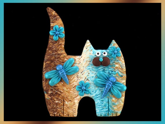 Standing Turquoise Tan Brown Tabby Kitty Cat, Dragonflies & Flowers Pin