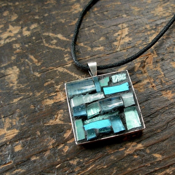 March Aquamarine Inspiration  Mosaic Pendant