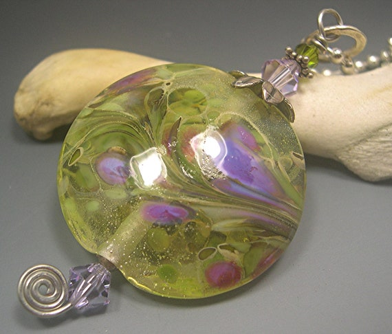 HANDMADE LAMPWORK FOCAL Bead Donna Millard floral glass bead teal blue gold silver pendant necklace lamp work fall autumn