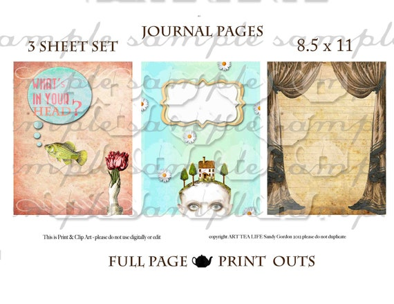 ART TEA LIFE Journal Pages 3 Sheet Set No.3 Scrapbook Collage Sheet print and clip art Digital File journalling doodle you print 8.5 x 11