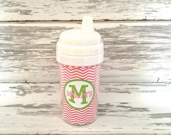 monogram toddler sippy cup - chevron prints