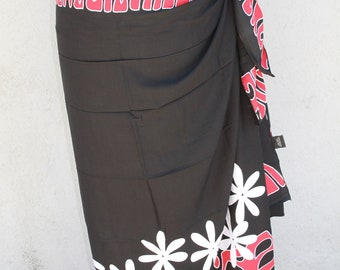 Black, bright red and white tattoo tiare premium Tahitian pareo, full or half sized sarong, Polynesian dance costume