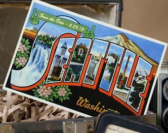 Vintage Large Letter Postcard Save the Date (Seattle, Washington) - Design Fee