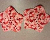 2 star dish rags- pinks