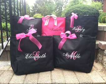 Bride Tote Bags,Bridesmaid bags, Personalized Embroidered Totes, Monogrammed Bridal Party Gifts, set of 9, bridal party gifts