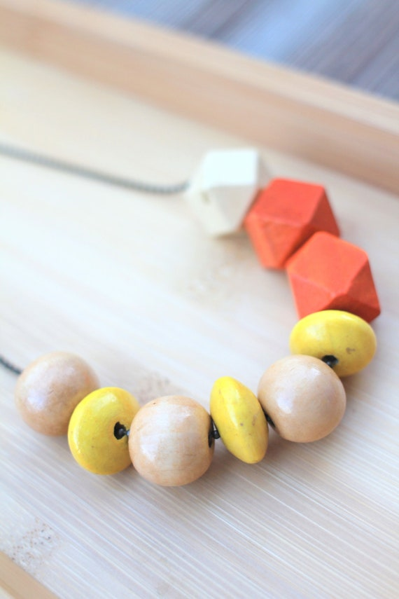 NECKLACE Wood Beads in Yellow, Beige and Orange strung on Antique Brass Ball Chain