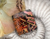 Copper Necklace - Dichroic Glass Jewelry - Fused Glass Pendant  - Dichroic Glass Pendant - Dichroic Glass Necklace 072512p101