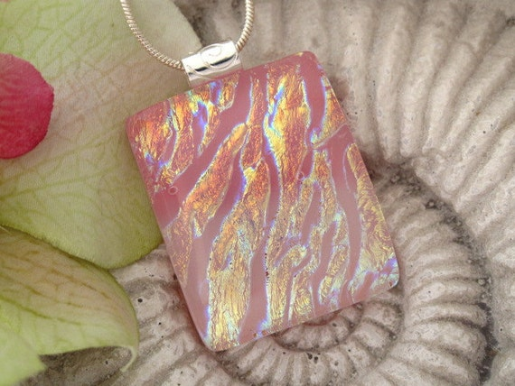 Peach and Coral Necklace - Dichroic Fused Glass Jewelry - Fused Glass Jewelry - Dichroic Necklace 080712p101