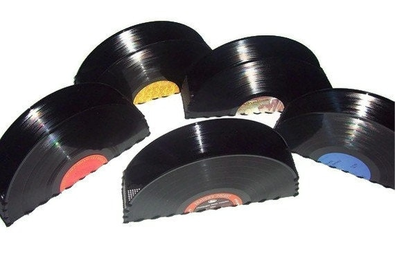 Recycled Record Storage Container Vinyl Record Album Organizer Office Desk Accessories