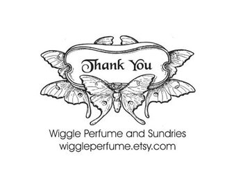 Thank You custom Rubber stamp Gorgeous Art Nouveau butterfly 100 year old image
