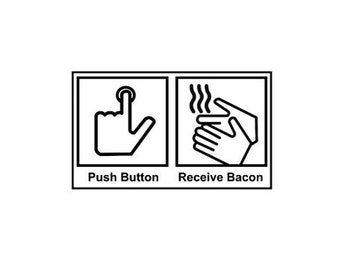 CLEARANCE Push Button Receive Bacon Rubber Stamp