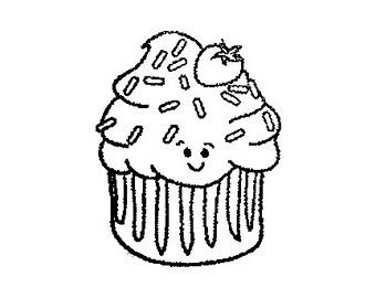 CLEARANCE Kawaii cupcake rubber stamp