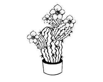 CLEARANCE flowering cactus Rubber Stamp large