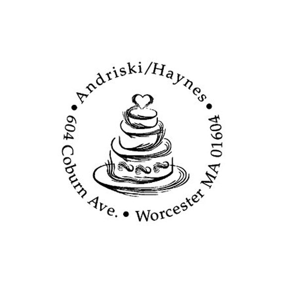 Wedding Cake Custom Rubber Stamp Tiered Cake Stamp Tiered Wedding Cake