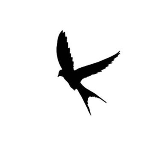 Silhouette Swallow in Flight Rubber Stamp small Landing Bird