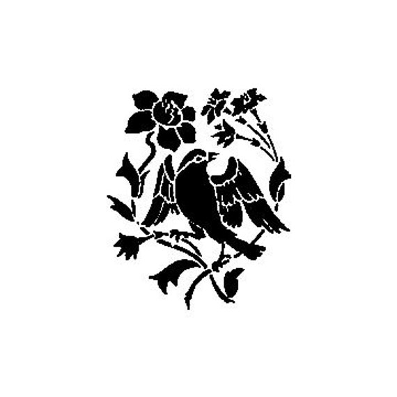 CLEARANCE Song Bird with flowers Rubber Stamp silhouette