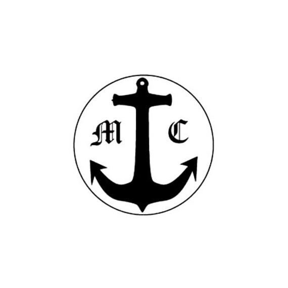 nautical anchor monogram initials custom Rubber Stamp