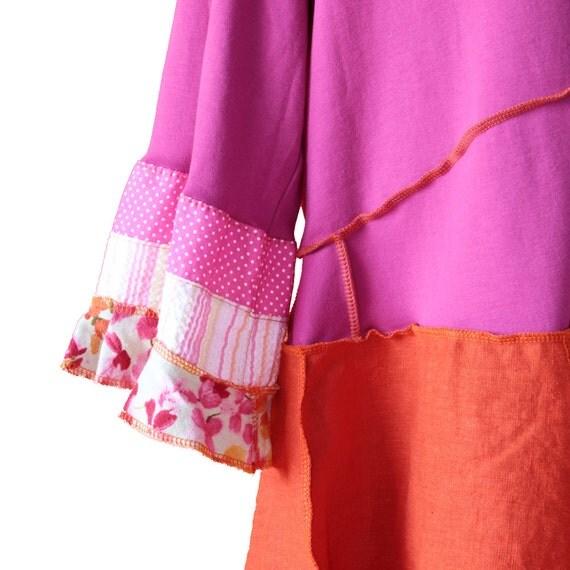3 DAY SALE - fuchsia pink and orange linen tunic, Extra Large