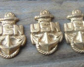 Brass WWII Navy Insignia Stamping.  Very Small.  Military. Vintage. New Old Stock. Three.