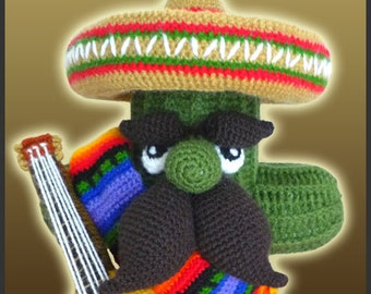 Amigurumi Pattern Crochet Cactus Mariachi DIY Instant Digital Download PDF