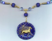 Horse and Carriage . Equestrian Jewelry . Beaded Necklace . OOAK . Royal Blue Beaded Beads - Picasso Horse by enchantedbeads on Etsy
