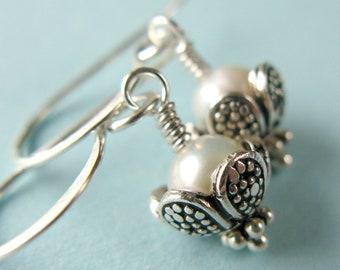 White Pearl Earrings Bali Sterling Silver Short Simple ..... Bliss .....