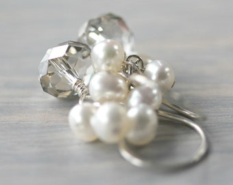White Pearl Earrings Swarovski Crystal Sterling Silver Cluster Bridal ..... White Dove .....