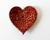 Clay Heart Ring Dish Red Pottery