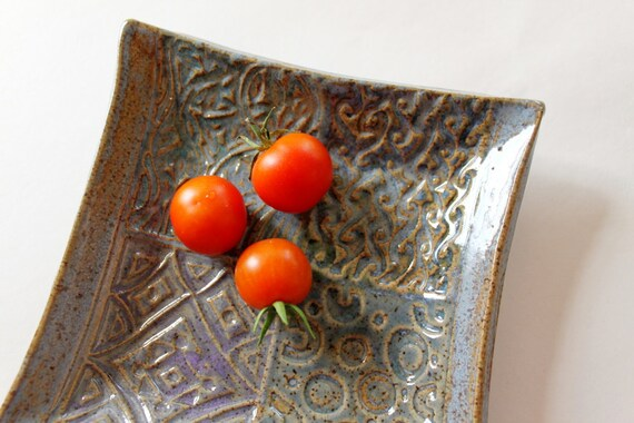 Patchwork Look Ceramic Square Plate  Great for Entertaining