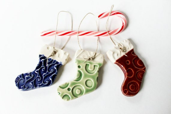 Clay Stockings, Christmas Tree Decoration Ornaments - Set of Three